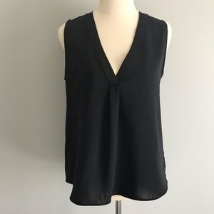 ZARA BASIC Black Sleeveless V-neck Blouse